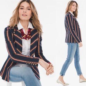 Chico's Striped Twill Ponte Knit Blazer Jacket LP